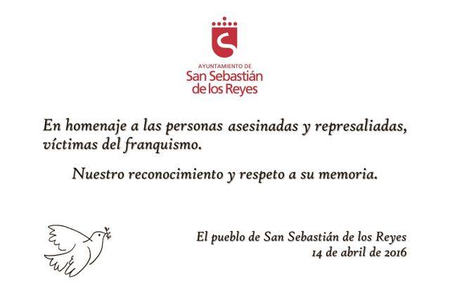 Asociación Comisión de la Verdad. Placa homenaje a víctimas del franquismo de San Sebastián de los Reyes