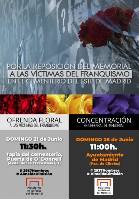 Ofrenda floral a las víctimas del franquismo en el Cementerio del Este de Madrid